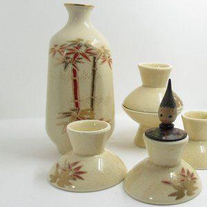 Vintage Japanese Sake /  Sake bottle and cups set